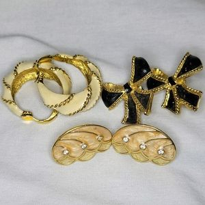 VTG Kenneth Jay Lane Clip On Earrings   3 Pairs